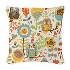 Flowers and Owls Woven Throw Pillow