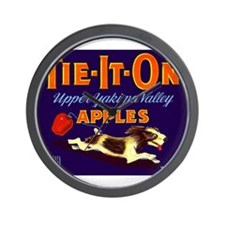 1948 Apple Crate Label Pup Tie It On Wall Clock