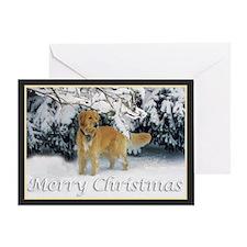 Golden Retriever Merry Christmas Greeting Card
