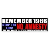 REMEMBER 1986 - STOP THE LIES Bumper Car Sticker