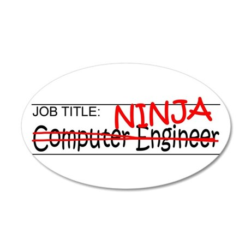 Job Ninja Computer Engineer 20x12 Oval Wall Decal