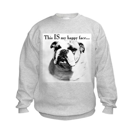 Bulldog Happy Face Kids Sweatshirt
