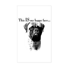 Bullmastiff Happy Face Rectangle Decal