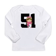 Softball Player Uniform Number 51 Long Sleeve Infa