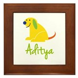 Aditya Loves Puppies Framed Tile