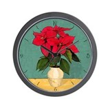 Xmas Van Gogh Poinsettias Wall Clock