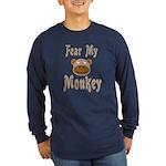 Fear My Monkey Long Sleeve Blue T-Shirt