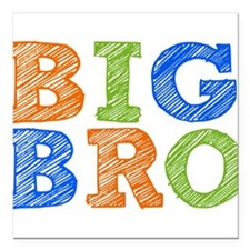 "Sketch Style Big Bro Square Car Magnet 3"" x 3"""