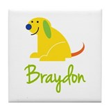 Braydon Loves Puppies Tile Coaster