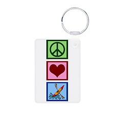 Peace Love Kayaking Keychains