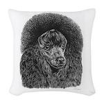 Black poodle Woven Throw Pillow