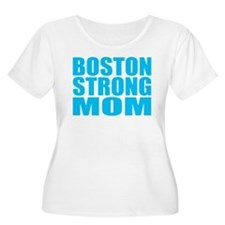 Hot Neon Blue Boston Strong Mom Plus Size T-Shirt