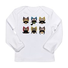 Cute owls with mustaches Long Sleeve T-Shirt