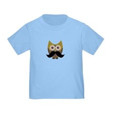 Golden Owl with Mustache T-Shirt