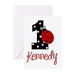 1 Ladybug KENNEDY - Custom Greeting Cards (Pk of 2