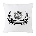 Firefighter Tattoo Woven Throw Pillow