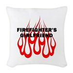 Firefighters Girlfriend Flames Woven Throw Pillow