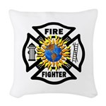 Firefighter Solar Woven Throw Pillow