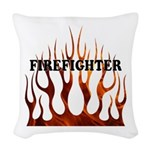 Firefighter Tribal Fire Woven Throw Pillow