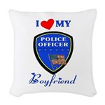 i love my police boyfriend.png Woven Throw Pillow
