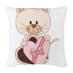Sweetheart Cat Woven Throw Pillow