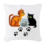 KIttys At Play Woven Throw Pillow