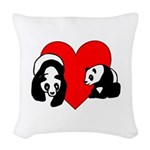 Panda Bear Love Woven Throw Pillow