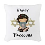 Passover Girl Matzoh Woven Throw Pillow