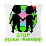 global warning kids redone.png Woven Throw Pillow