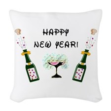 3-happy new year sign.png Woven Throw Pillow
