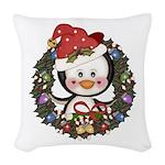 Christmas Penguin Holiday Wreath Woven Throw Pillo