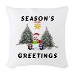 holiday snowman redone.png Woven Throw Pillow
