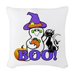 Halloween Ghost Woven Throw Pillow