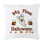 Babys First Halloween Woven Throw Pillow