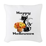 Halloween Black Cat Woven Throw Pillow