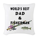 dad and fisherman.png Woven Throw Pillow