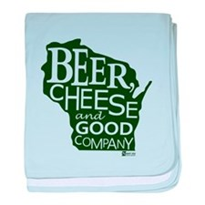 Beer, Chees & Good Company in Green baby blanket
