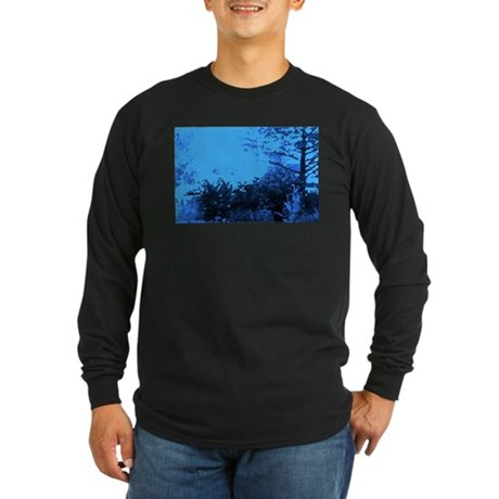 Blue Garden Long Sleeve Dark T-Shirt