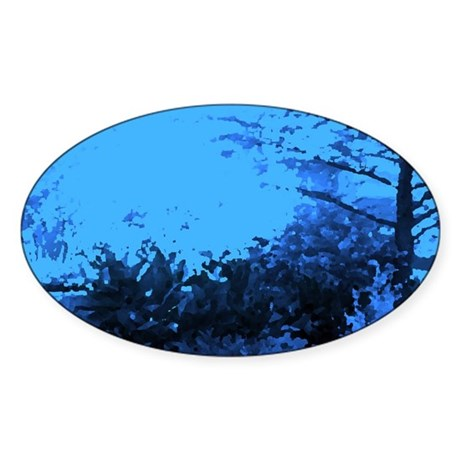 Blue Garden Oval Sticker