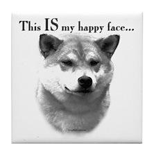 Shiba Inu Happy Face Tile Coaster