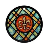 Stained Glass Look Fleur de Lis Ornament