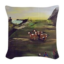 Native American Horses Woven Throw Pillow