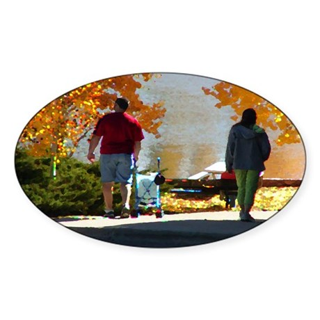Early Autumn Stroll Oval Sticker