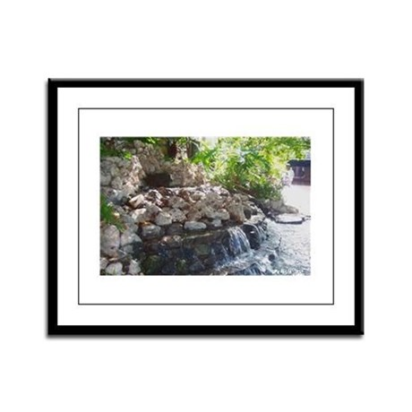 Garden Waterfall Framed Panel Print