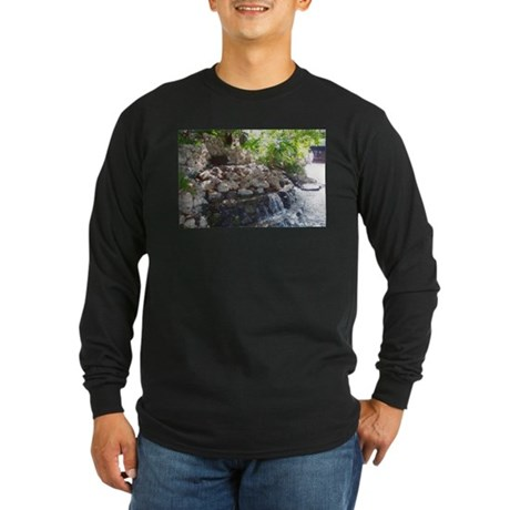 Garden Waterfall Long Sleeve Dark T-Shirt