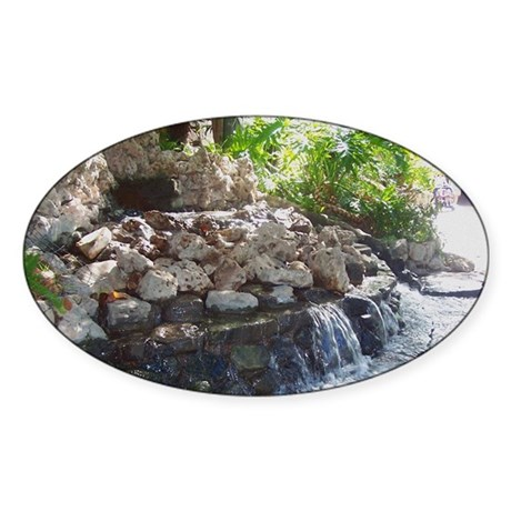 Garden Waterfall Oval Sticker