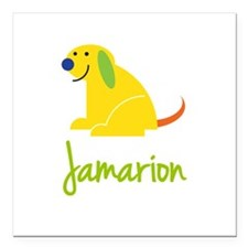 "Jamarion Loves Puppies Square Car Magnet 3"" x 3"""