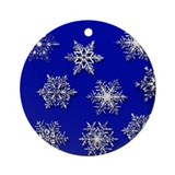 Snowflakes in Blue Holiday Ornament (Round)