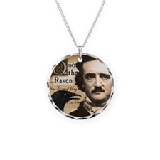 Edgar Allan Poe and Raven Round Silver Necklace