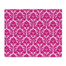 Hot Pink Damask Throw Blanket